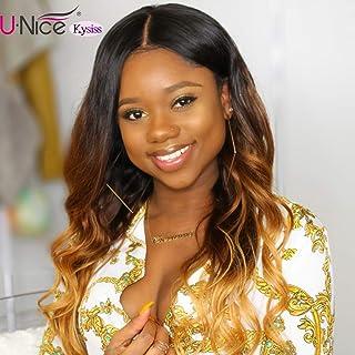 UNice Hair Kysiss Series Brazilian Ombre Body Wave Bundles with Lace Closure 100% Remy Human Hair Weaves 3 Tone Ombre Bundles 1b/4/27 Color (16 16 16+14 Closure)