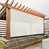 Exterior Roller Shades Cordless Blinds, Off white Color Custom Outdoor Waterproof Solar Shades Light...