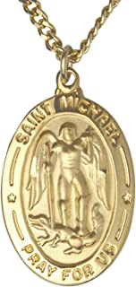 TrueFaithJewelry 14K Gold Over Sterling Silver Saint Michael The Archangel Pray for Us Medal, 1 Inch