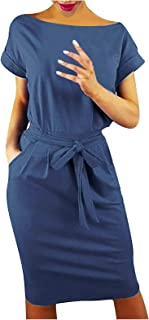 Womens Casual Boat Neck Loose Party Dress Plus Size Short Sleeve Tied Waist Midi Party Dress Dual Pockets