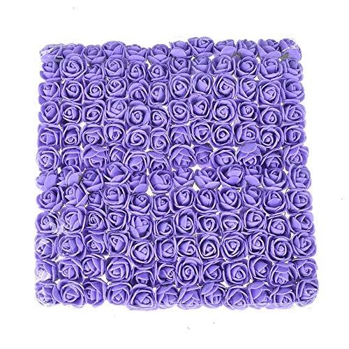 WHANG DIY Mini Foam Rose Artificial Blumenstrauß mehrfarbige Rosen-Hochzeit Blumendekoration Scrapbooking Rose Blume (blau). (Color : Purple)