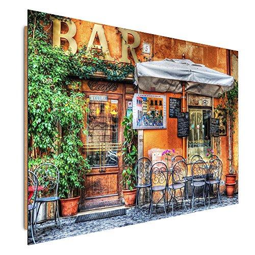 Feeby. Tableau - 1 Partie - 40x50 cm, Décoration Murale Image Imprimée Deco Panel, Bar, Architecture, Marron