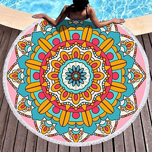 Dofeely Dames Colourful Mandala bedrukking zacht strandhanddoek rond tapijt meditatie mat handgemaakte kwastdeken stijlvol polyester 59inch