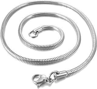 SODIAL(R) Catenina Uomo 4.0mm Larghezza Acciaio Inossidabile Collana Snake Serpente Catena Catenina Collegamento Argento B...