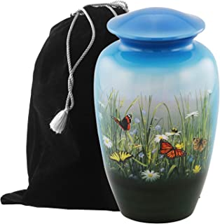Eternitymart's Aesthetic Painted Cremation Urn - Affordable Metal Urn - Hand Painted Solid Metal Urn for Ashes, Adult Cremation Urn with Free Velvet Bag (Butterfly)