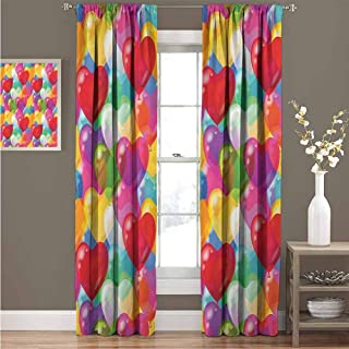 GUUVOR Valentines Day Love Blackout Curtain Set Heart Shaped Balloons Colorful Cheerful Birthday Carnival Happy Image Kindergarten Shading Insulation W52 x L63 Inch FabricRed Blue Yellow