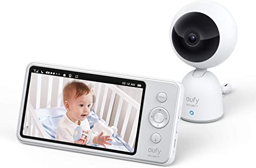 """popular eufy Security Video and Audio Baby Monitor, 720p Resolution, Large outlet online sale 5"""" Display, 5,200 mAh Battery, 2-Way Audio, discount Night Vision, Lullaby Player, 1000 ft Range, Ideal for New Moms, Manual Pan & Tilt online"""