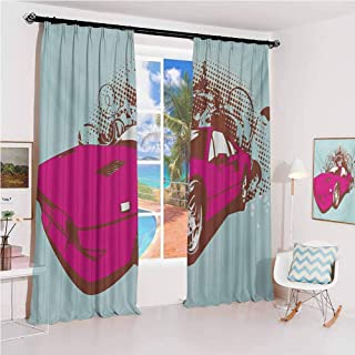 Vintage Sunshade Sunscreen Curtain Custom Collectors Old Car Grunge Background Cartoon Like Funky Art Soundproof Shade W52 x L95 Inch Baby Blue Hot Pink Redwood