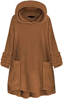 TUSANG Womens Outwear Pure Color Hooded Collar Tunic Blouse Pocket Hat Woolen Loose Fit Comfy Sweater Tops