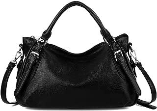 YALUXE Women's Genuine Leather Handbag Purse Pocketbook Shoulder Bag Black
