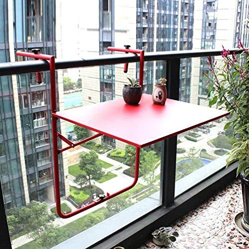 Ailj Mesa Plegable Balcon, Mesa Colgante Balcon De Forja, Escritorio Multifuncional Escritorio De Computado, Mesa Auxiliar Regulable Altura Plegable (Color : Red, Size : 60 * 53cm)