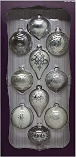 Kirkland Signature 10-Piece Hand-Decorated Glass Ornaments, Silver/White