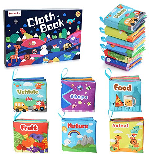 BeebeeRun Libros Blandos para Bebes 6 Piezas,Libro de Tela Bebé,Juguetes Bebes 6 Meses,Educativo Juguetes para Bebé Recién Nacido Niños