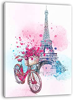 Paris Wall Decor Pink Wall Art for Girls Bedroom Decor Eiffel Tower Decor Modern Artwork for Walls Pink Flowers Bicycle Canvas Prints Wall Decoration for Bathroom Bedroom Kitchen Home Decor 12x16
