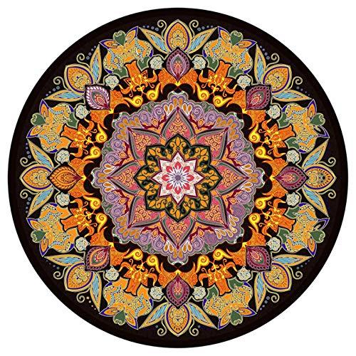 LWLSLK Alfombras Suaves Redondas de Mandala Estilo étnico Dormitorio Sala de Estar Alfombrilla Antideslizante