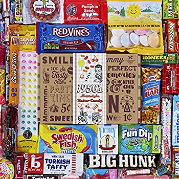VINTAGE CANDY CO 1950 s RETRO CANDY GIFT BOX - 50s Nostalgia Candies - Throwback FIFTIES Fun Gag Gift Basket - PERFECT  50s Candies For Adults College Students Men or Women Kids Teens
