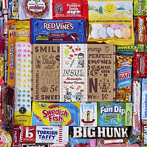 VINTAGE CANDY CO. 1950's RETRO CANDY GIFT BOX - 50s Nostalgia Candies - Throwback FIFTIES Fun Gag...