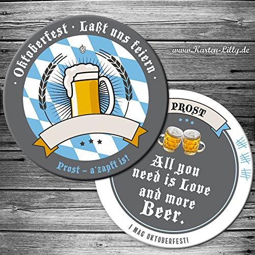 25 Oktoberfest Bierdeckel Einladung Motiv Bier Prost Bieruntersetzer Karte originelle individuelle Einladungskarte