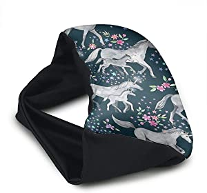 Voyage Travel Pillow Eye Mask 2 in 1 Portable Neck Support Scarf Unicorn Horse Flower Ergonomic Naps Rest Pillows Sleeper Versatile for Airplanes Car Train Bus Home Office