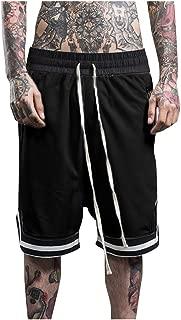 IHGTZS Shorts for Men, Fashionable Men's Elastic Rope Stretch Mesh Pocket Casual Plain Sports Shorts