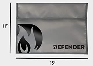 Defender Fireproof and Water Resistant Document Bag | Silicone Coated Fiberglass Non-Itchy | Velcro Closure to Keep Valuables Protected | Large 11