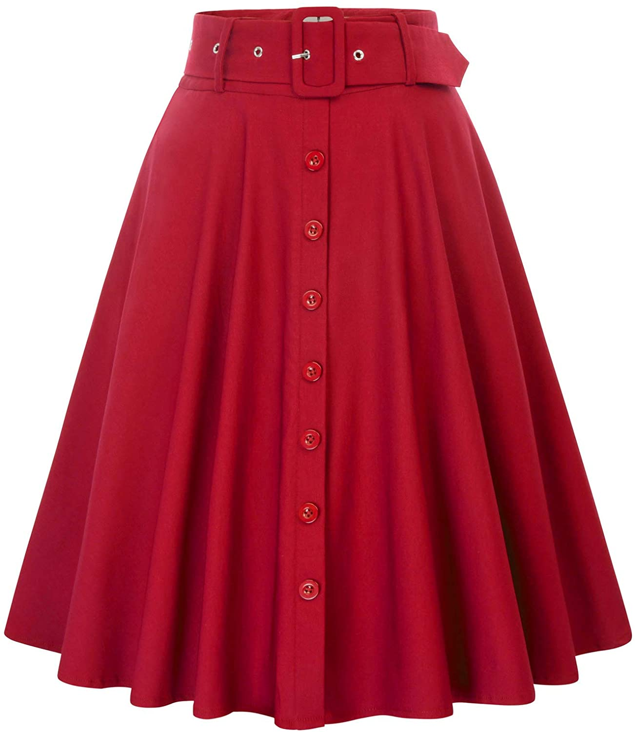 Vintage Skirts | Retro, Pencil, Swing, Boho Belle Poque Womens Stretch High Waist A-Line Flared Midi Skirts with Pockets & Belts $27.99 AT vintagedancer.com