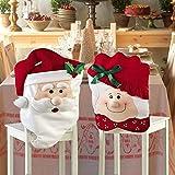 ZJchao Weihnachten Mr & Mrs Santa Claus Küchen Stuhlhussen Home Party Dekoration (Pack of 2)