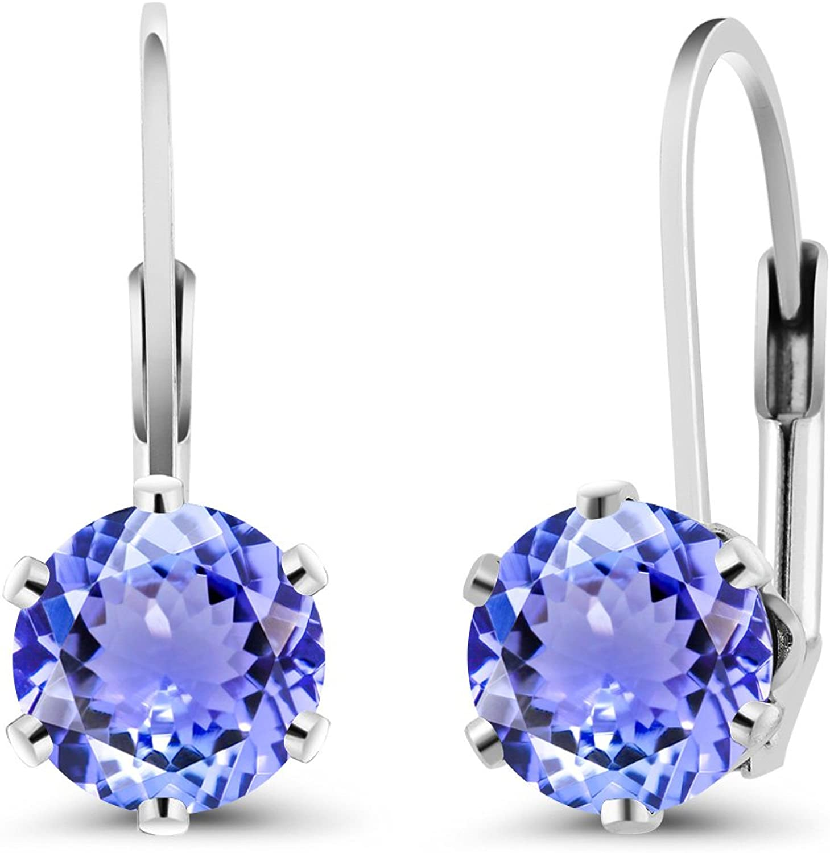 1.80 Ct Round bluee Tanzanite 925 Sterling Silver Earrings