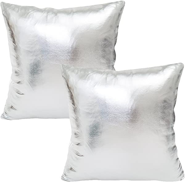 WOMHOPE Set Of 2 Decorative Throw Pillow Covers Metallic Faux Leather Square Throw Pillowcase Cushion Covers Party For Sofa Couch 18 X 18 Inches 2 Pcs Silver