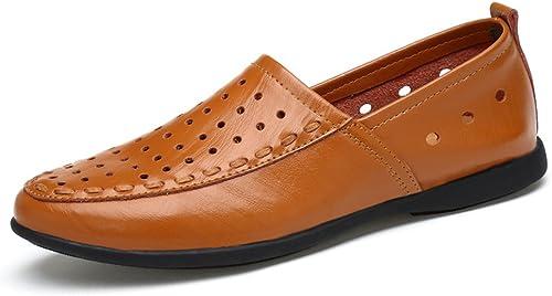 SRY-chaussures SRY-chaussures Mocassins Confortables en Cuir véritable pour Hommes, avec Mocassins à Semelle intérieure en Daim (Couleur   Light marron Breathable Style, Taille   39 EU)  au prix le plus bas
