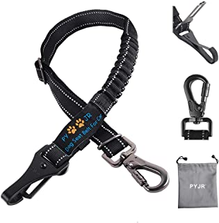 PYJR Dog Car Seatbelt, 3-in-1 Adjustable Pet Seatbelt Harness, with Elastic Nylon Bungee Buffer and Latch Bar Attachment, ...