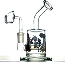 9.5Inch Green Light Dual Water Percolator Glass Big Water Chamber,Handmade Glass Eazy Pipe, Easy to Grip and with Ice Shelf Unique Luminous Design for Man Women Boys Fathers Day Gift