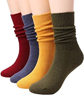Women Cotton Socks Mid Calf Casual Crew Socks Vintage Knit Women's Cotton Socks By CHOEES (4 Solid Colors Pack of 4 Size 5-10)