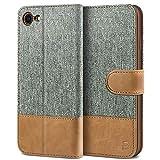 BEZ Handyhülle für iPhone SE 2020 Hülle, Tasche Kompatibel für iPhone SE 2020 / iPhone 7 / iPhone 8, Schutzhüllen aus Klappetui mit Kreditkartenhaltern, Ständer, Magnetverschluss, Grau