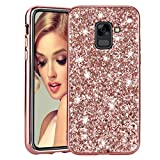 Bling Glitter Case for Galaxy J6 2018 Rose Gold, Mistars Luxury Sparkle Diamond Cover [Hard PC Back + Soft TPU Edge] Shockproof Protective Shell for Samsung Galaxy J6 2018