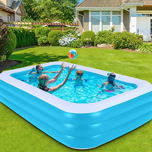 """Inflatable Swimming Pool, Asbyme 120"""" X 72"""" X 22"""" Full-Sized Blow up Pool for Kids, Adults, Baby, Children, Quick Set Family Pool for Backyard or Outdoor"""