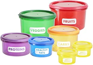 Food Storage Containers Healthy Living Portion Control Containers Kit (7 Piece) - Easy Way to Lose Weight