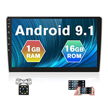 Hikity 10.1 Inch Android Car Stereo with GPS Double Din Car Radio Bluetooth FM Radio Receiver Support WiFi Connect Mirror Link for Android/iOS Phone + Dual USB Input & Backup Camera