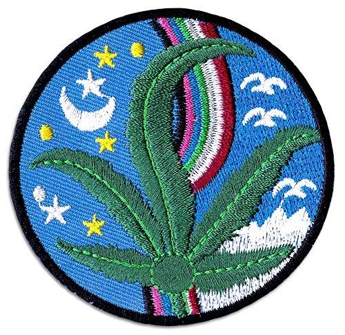 Ganja Night Aufnäher Aufbügler Patch Cannabis Hanfblatt Buddha Yoga Alternativ Goa Festival