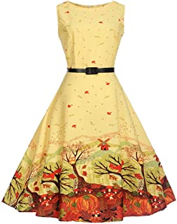 Vintage Dresses, Womens Floral Printed Sleeveless Casual Evening Party FORUU
