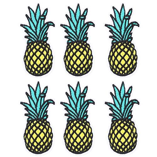 HEEPDD 6 stuks ananas-patch geborduurd ananas ijzer op schattige ananas wandlamp DIY T-shirt stof zelfklevend voor kleding rugzakken T-shirt jeans rok vest sjaal hoed tas
