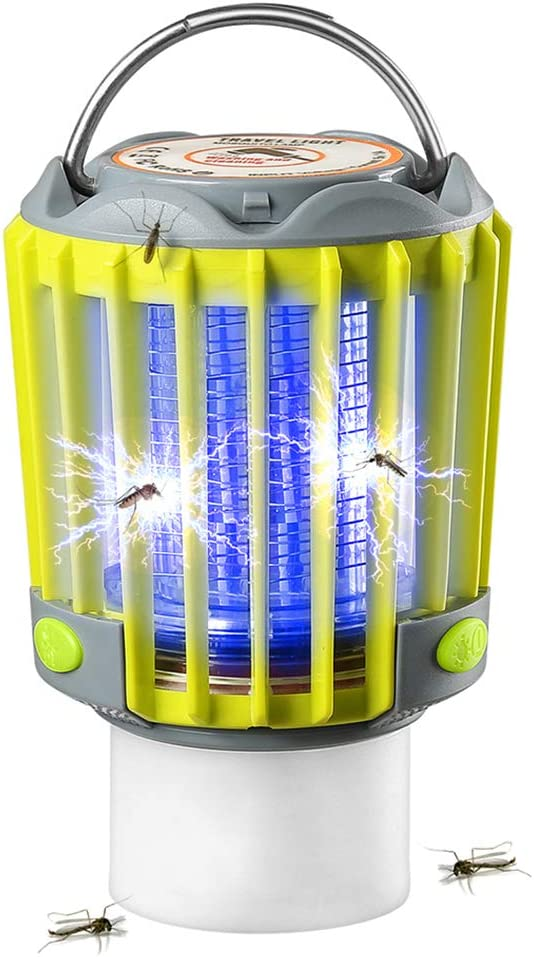 SUPOLOGY Bug Zapper Camping Lantern, IP67 Waterproof Rechargeable Flashlights 4 Lighting Modes Dimmable Emergency LED Light for Home Party, Yard, Camping, Hiking, Fishing, Hurricane, Outage (Green)
