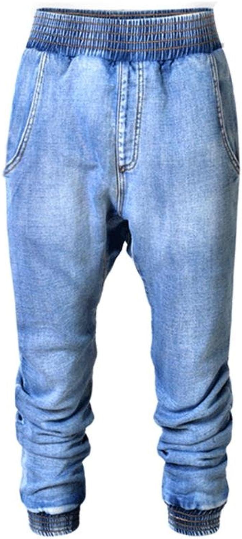 Women's Jeans Disco High Waist Loose Straight Trouser Elasticity Denim Seven Pants