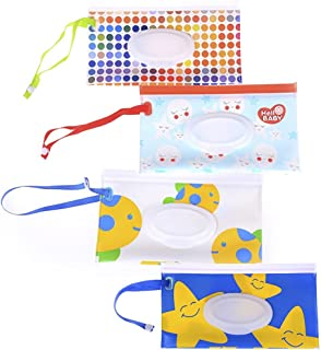4Pcs Wet Wipe Pouch, Travel Wipes Case Reusable Refillable Wet Wipe Bag Travel Wipes Dispenser Wipe Pouches Baby Wet Wipe Portable Travel Cases, Different Pattern