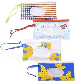 4Pcs Wet Wipe Pouch, Travel Wipes Case Reusable Refillable Wet Wipe Bag Travel Wipes Dispenser Wipe Pouches Baby Wet Wipe Portable Travel Cases, Different Pattern