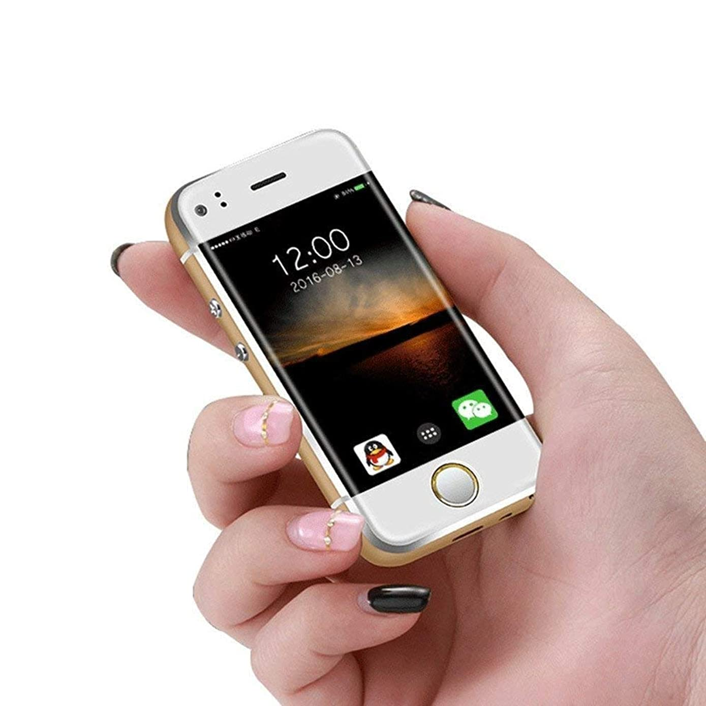 Mini Cell Phone SOYES Smartphone Android mobile phone Mtk6572 CPU Wifi 2.45 Inch Capacitive Screen Dual SIM Children's Phone Gift(gold)