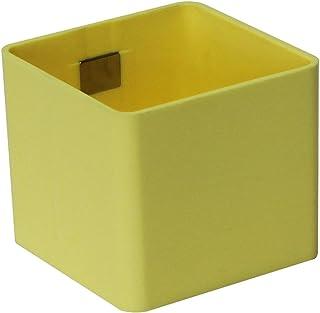 KalaMitica Pot pour rangement mural ou décoration mural, forme mini cube, Ø 6cm, jaune clair, 6,3 x 5,...
