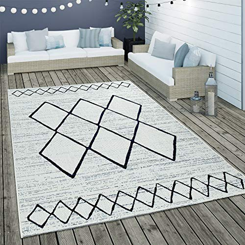 Paco Home Alfombra De Tejido Plano Interior Y Exterior Motivo Escandinavo Geométrico Blanco Azul, tamaño:120x170 cm
