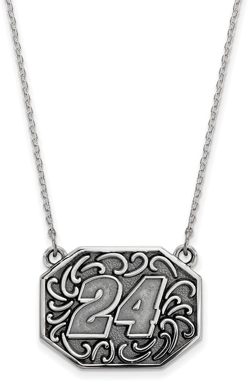 Beautiful Sterling silver 925 sterling Sterling Silver Antiqued LogoArt NASCAR  24 William Byron 18in Necklace
