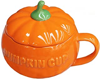 Cute Pumpkin Ceramics Coffee Mug Milk Soup Cup With Lid